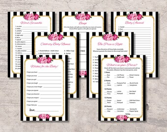 Black and White Floral Baby Shower Games Printable, baby shower games kit set, digital file instant download, black and white stripes, girl