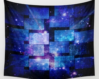 Patched Blue Night Sky Tapestry