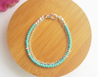 Baby Blush Bracelet - Bead and chain