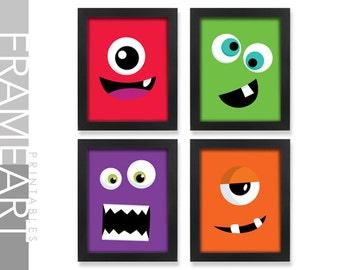 Set of 4 MONSTER Face Printables Frame Art Printable Wall Art, Kids Bedroom Art, Home Décor, Wall Décor, Monster Theme 37