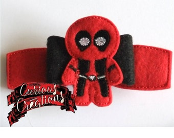 Deadpool Cutie Inspired Felt Embroidered Handmade Hairbow