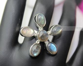 Labradorite Ring, 925 Sterling Silver Ring, Gemstone Rings, Crystal Rings, Healing Rings