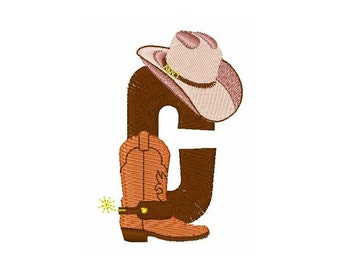 Rodeo Cowboy Font C - machine embroidery design