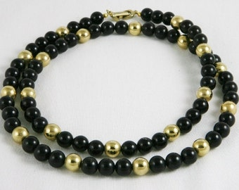 Vintage Long Black and Gold Bead Necklace 30""