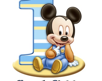 MICKEY MOUSE 1st Birthday 1/4 Edible Frosting Icing Sheet Cake Topper Image Customized Personalized Birthday 1st Party Custom Decoration
