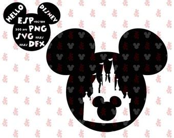 Mickey head Disney castle SVG Clipart Disney - Cut files - Mouse Die Cuts - Svg Dxf Eps Pdf Png - Disney files for Silhouette - Cricut
