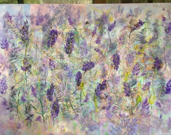 Listening Through Lavendar - painting, acrylic on stretched canvas, ready to hang