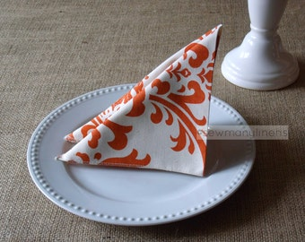 Burnt Orange Napkins Floral Damask Cloth Fabric Napkin Set Table Centerpiece Home Kitchen Decor Dining Table Linens