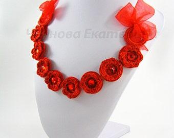 """Колье «Красные маки» - Украшение на шею Necklace """"Red poppies"""" - on the neck jewelery"""