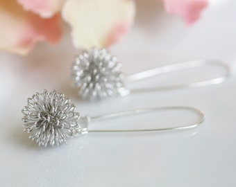 silver dangle earrings, dandelion earrings, silver drop earrings, silver wire earrings, wire ball earrings, silver wire ball earrings
