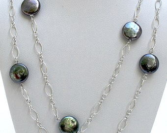 Sterling Silver and coin pearl Necklace and Earring set