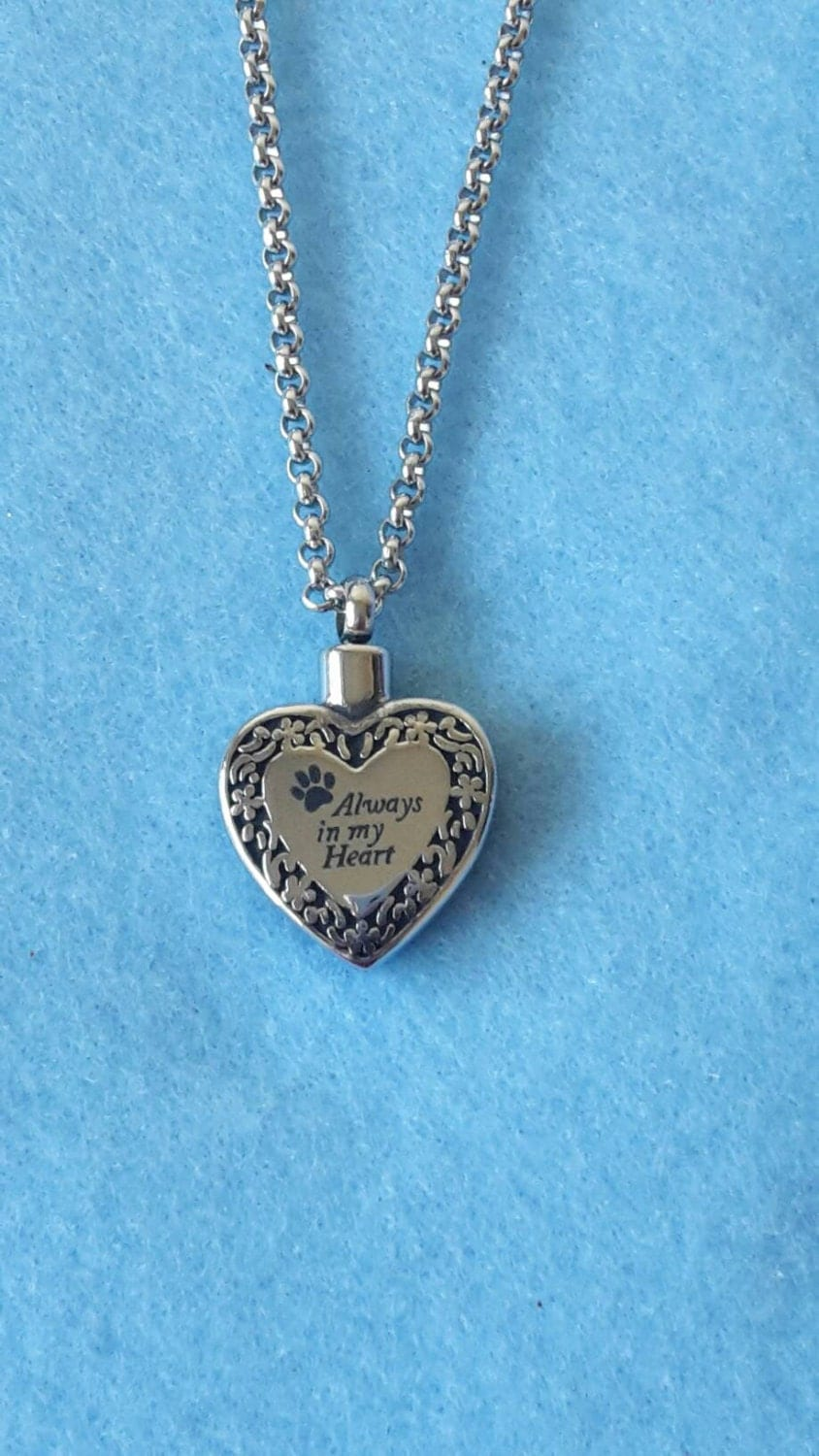 Pet urn heart necklace cremation jewelry ashes holder for Cremation jewelry for pets ashes