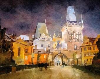 Prague watercolor wall art, instant download Czech Republic aquarelle poster, printable Prague wall decor, digital download Charles Bridge