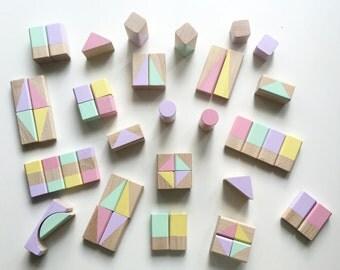 Blocks blocks in pastel colors, geometric patterns