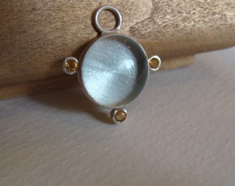 Sterling Silver necklace with Citrine and pale Blue Venetian Glass Gem
