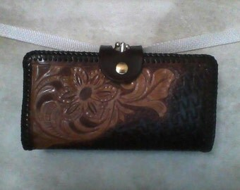 Hand-Tooled, Hand-Laced, Leather Clutch Wallet