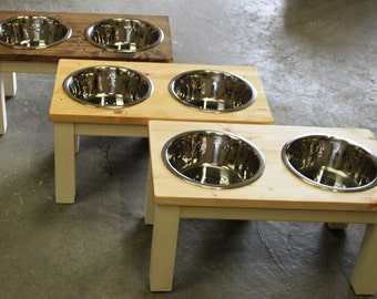 large dog , double dog bowl feeder, table