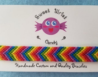 Handmade Rainbow Chevron Patterned Friendship Bracelet