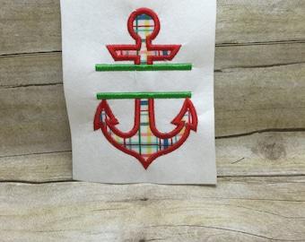 Split Anchor Applique, Anchor Split Embroidery Applique