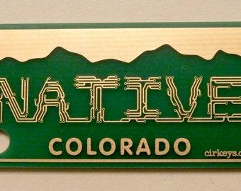 NATIVE Colorado License Plate Circuit Board Keychain