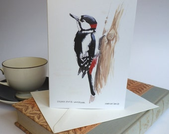 Great Spotted Woodpecker recycled greetings card