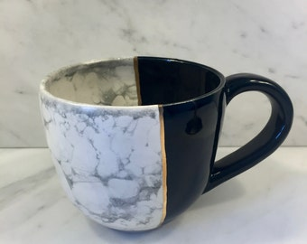 Large Hand Made Marble and Jet Black Mug with 22K Gold Band