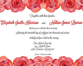 Watercolor Red Roses Wedding Invitation - PRINTED