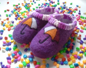 Wool slippers, made by hand.