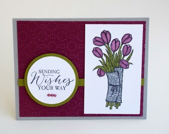 Handmade any occasion sending wishes your way tulips card, embossing, happy birthday, congratulations, retirement, purple