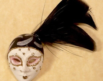 Vintage Lady Face Pin. Black Feather. Rhinestone Net Veil.