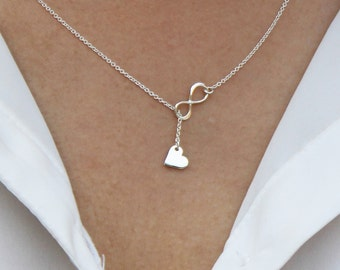 925 Sterling Silver Lariat necklace/ Infinity Heart Lariat necklace / Love Heart Infinity lariat Y necklace