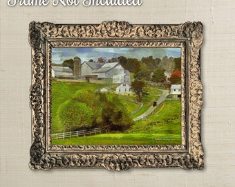 Impressionism Print Amish Art Buggy Leaving Farm Landscape Print