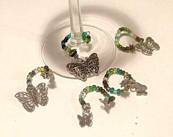 Dark Butterflies Wine Glass Charms Set