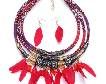 Feather tribal necklace handmade