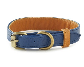 Beaufort Blue Leather Dog Collar