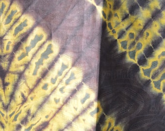 African Fabric Tie-Dye Black & Yellow Design