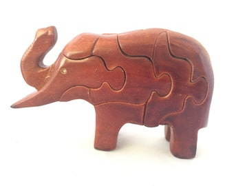 Elephant Wooden Puzzle with Tusk