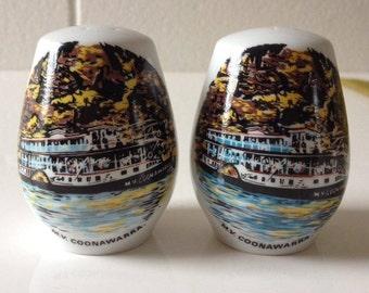 Souvenir Salt and Pepper Shakers Westminster China MV Coonawarra Vintage Australian Cruet