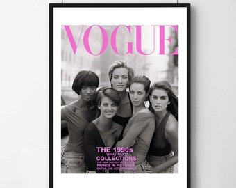 Poster poster cover of vogue 1990 by peter Lindbegh, feminine and original poster for the House.