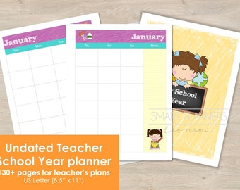 "Academic Year Teacher Planner, undated. US Letter Size 8.5""x11"". Monthly and weekly planner inserts. Perpetual School year teacher binder."
