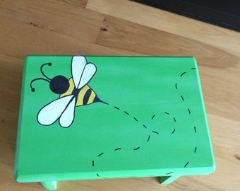 Hand Painted Bumble Bee Kids Stepping Stool