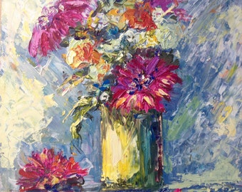 Original  oil painting on panel - Pink flowers by Dam Domido