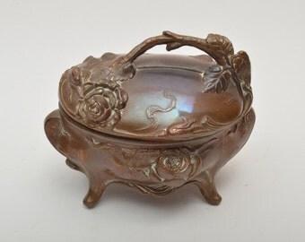 Victorian/Edwardian Antique Vanity Storage Jewelry Box Gold Tone