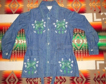 70s Made In Mexico Women's Embroidered Denim Coat Size Small