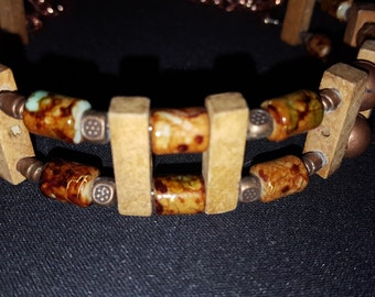 Wood and Bead Choker Necklace