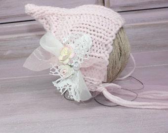 Newborn Elf Hat, Baby Girl Elf Hat, Pink Elf Hat, Knit Elf Hat, Newborn Baby Prop Hat