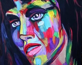 Original Modern Art. Abstract Face. Painting.