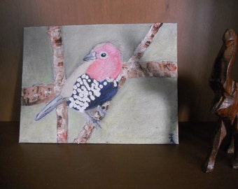 Male Pink-Throated Twinspot Bird Impasto No.1, Fine Art, Oil On Canvas, Birds, Nature, Gift, Home Decor