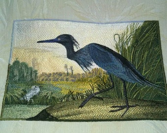 pillow emroidered audubon bird