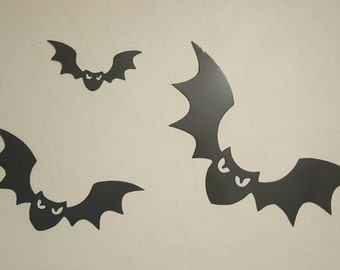 Group of 3 Metal Halloween Bats/Flying Bats/Halloween Decor/Ourdoor Halloween Decor/Metal Bats
